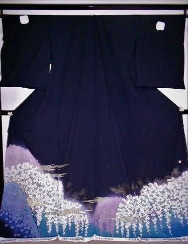 正絹留袖 江戸褄 丹後ちりめん 関芳 桜 柄八掛付 日本製 未仕立て 送料無料