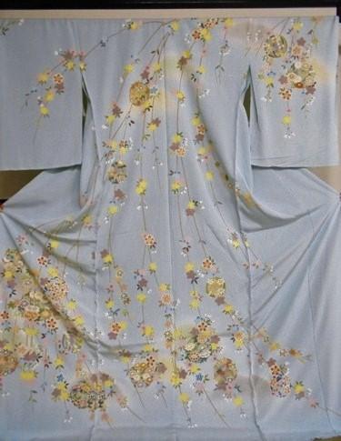 正絹訪問着 友禅染め 水色 柄八掛付 日本製 丹後ちりめん 未仕立て 送料無料