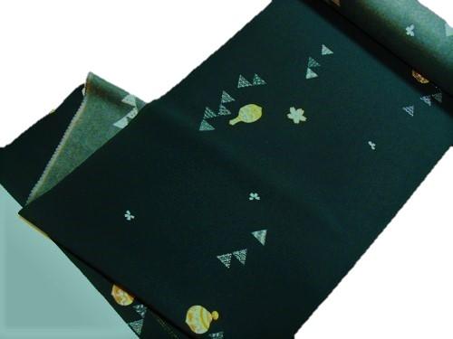 小紋反物【正絹】【濃グリーン】【壺】【絹100%】【未仕立て】