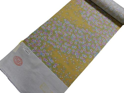 小紋反物【正絹】【イエロー】【小桜】【絹100%】【未仕立て】【送料無料】