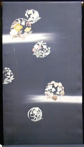 絽付下反物【正絹】【夏物】【ダークグレー】【手描き】【駒絽】【未仕立て】【日本製】【五泉】【送料無料】