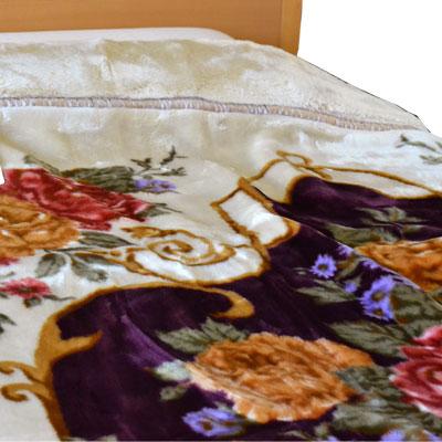 日本製泉大津 洗えるアクリル毛布 衿付2枚パチパチ防止合わせ毛布 ダブルサイズ 180×210cm【9ss】