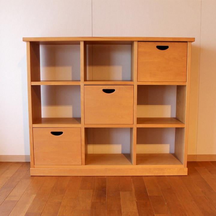 【送料無料】無垢バーチ材のオープンシェルフ 収納 棚(受注製作の無垢家具)