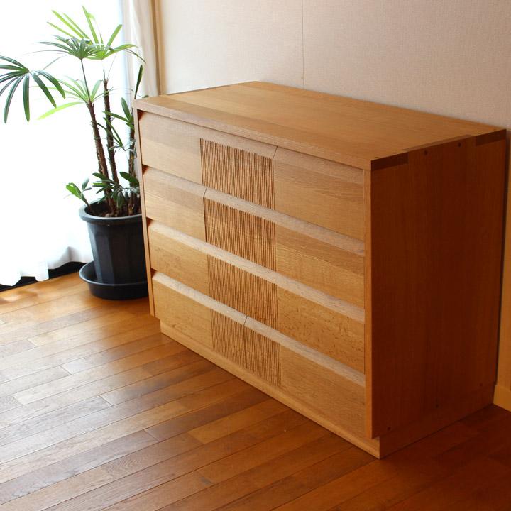 【送料無料】ナラ無垢のリビングチェスト(受注製作の無垢家具)