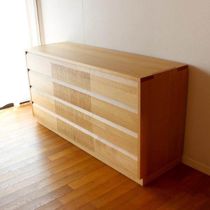 【送料無料】ナラ無垢のリビングチェスト_大(受注製作の無垢家具)