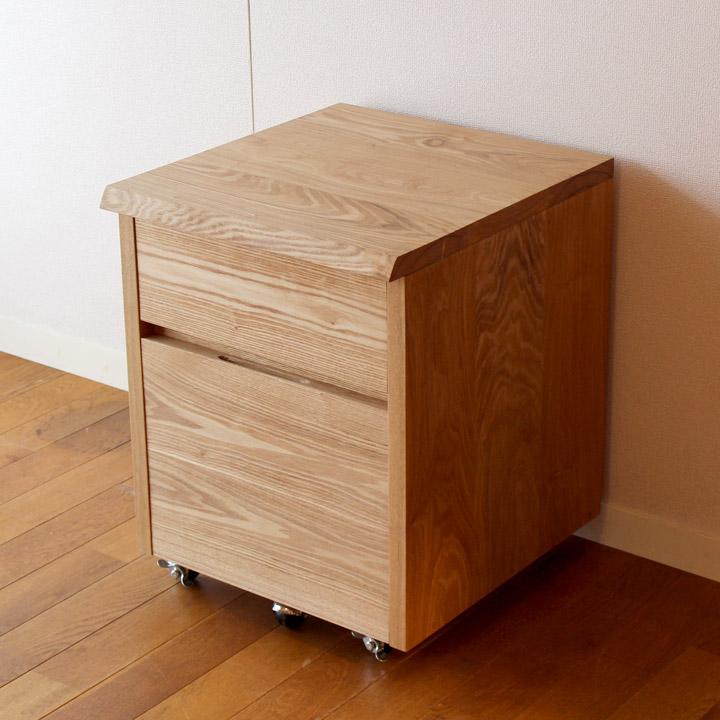 【送料無料】タモ無垢のデスクワゴン(受注製作の無垢家具)