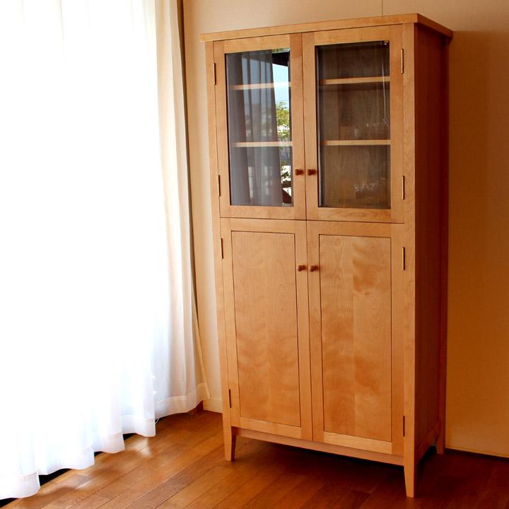 【送料無料】無垢のカップボード 食器棚 キッチン収納(受注製作の無垢家具)