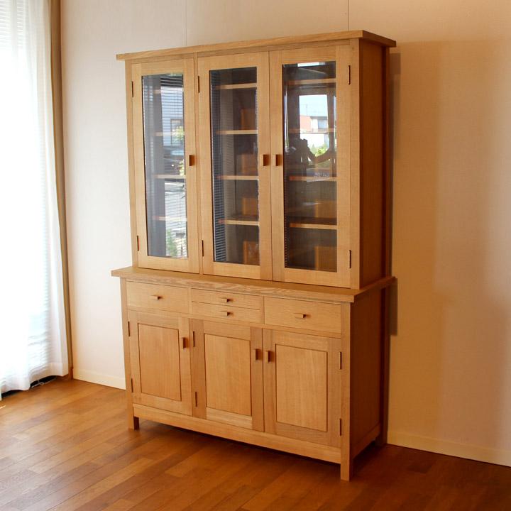 【送料無料】無垢のカップボード(大) 食器棚 キッチン収納(受注製作の無垢家具)