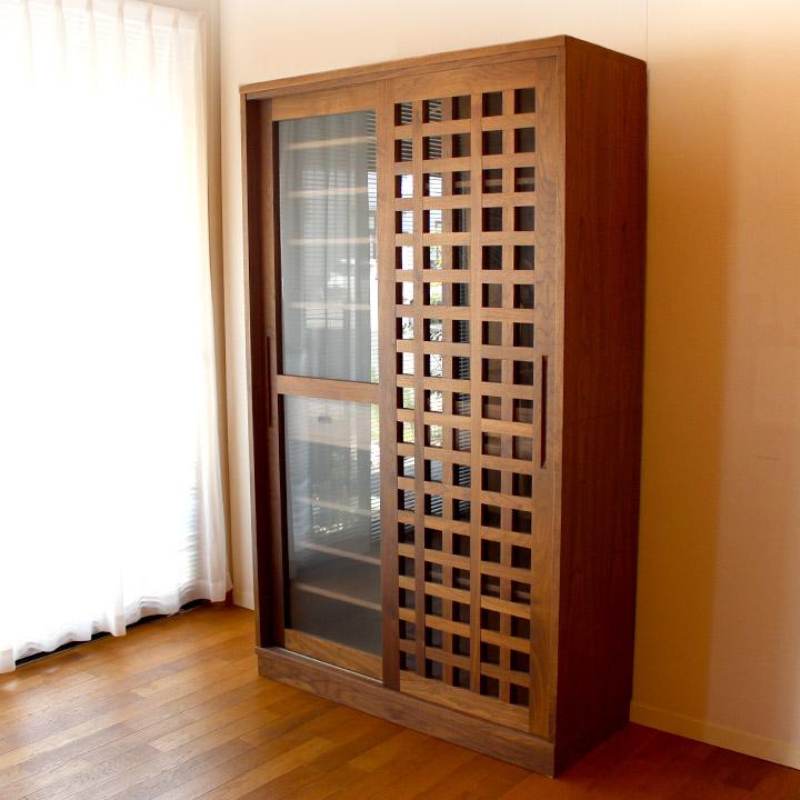 【送料無料】格子食器棚 ダイニングボード キッチン収納(受注製作の無垢家具)
