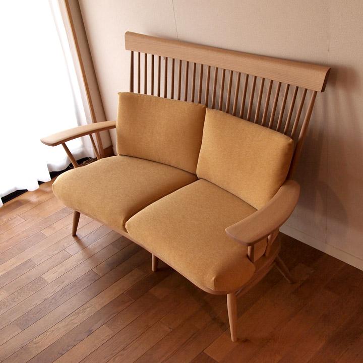 【送料無料】幸せを呼ぶ黄色いソファ(2P)【無垢家具】