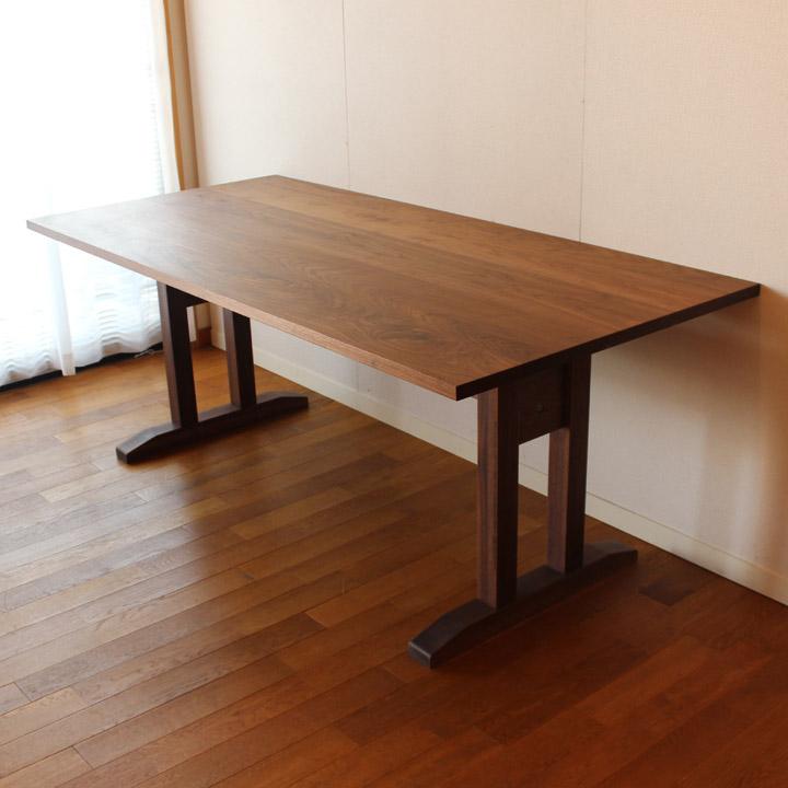【送料無料】ウォールナットのオーダーテーブル(H脚) 4人掛け(受注生産のオーダー家具)