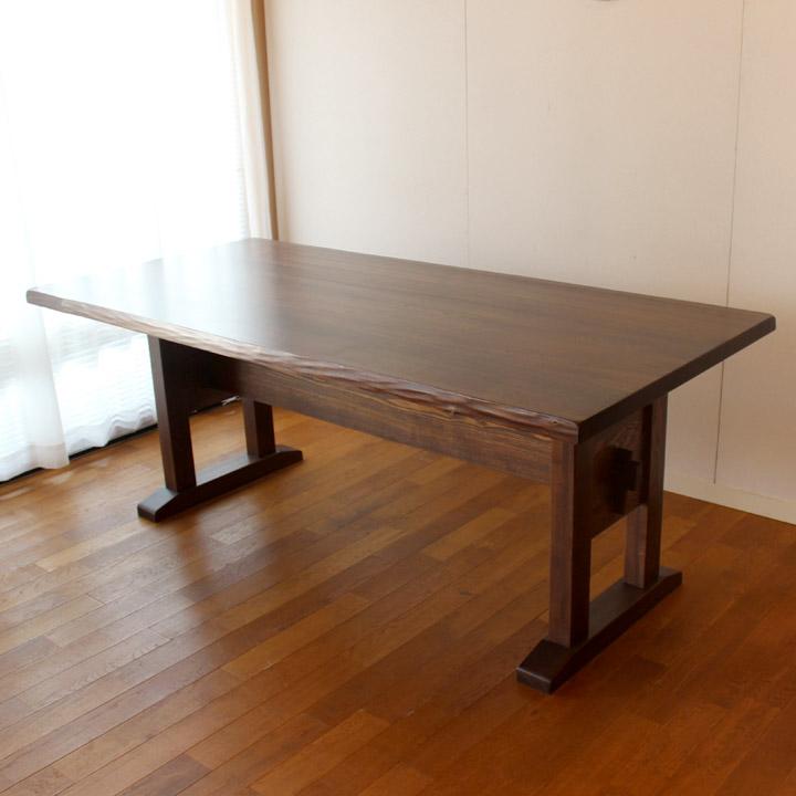 【送料無料】タモ はぎ板(和風オイル塗装)のヌキ脚テーブル ダイニングテーブル 4人掛け(受注生産のオーダー家具)