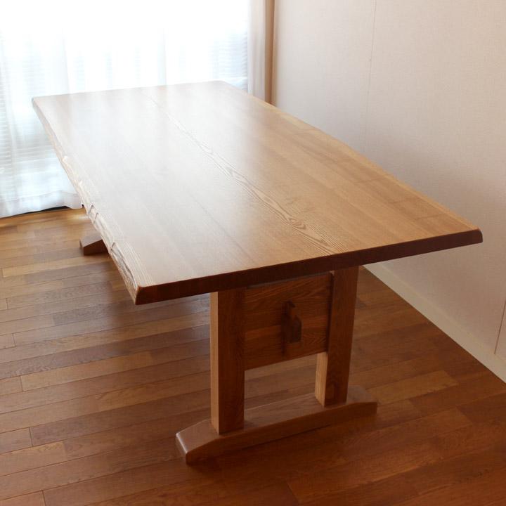 【送料無料】タモ はぎ板のヌキ脚テーブル ダイニングテーブル 4人掛け(受注生産のオーダー家具)