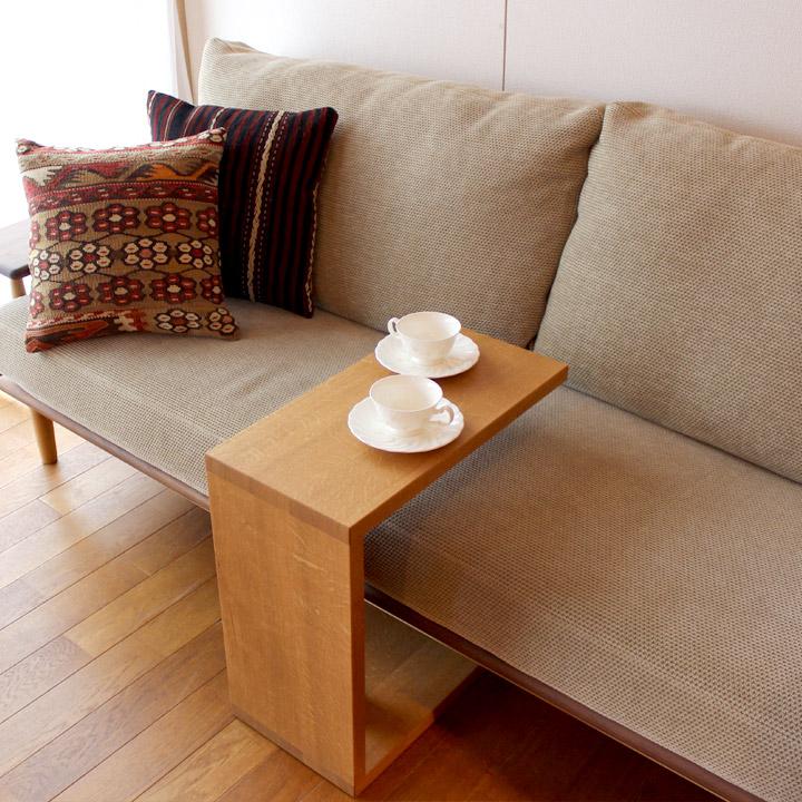 【送料無料】オーク無垢材のサロンテーブル サイドテーブル(受注生産の無垢家具)