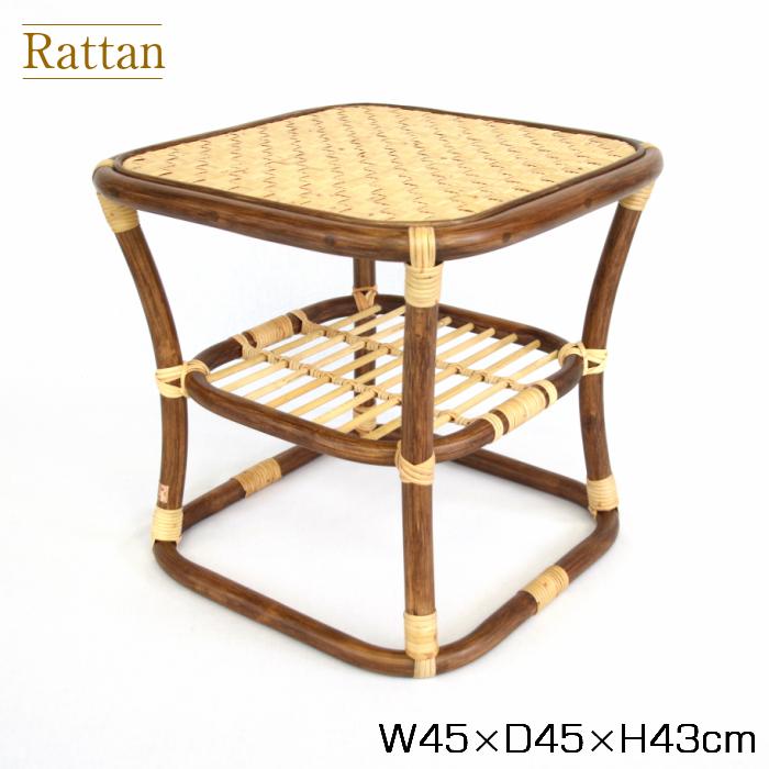 籐製サイドテーブル ラタン サイドテーブル 収納 コーヒーテーブル サイドテーブル ベッド 寝室 サイドテーブル 収納付き サイドテーブル 高さ43cm 籐