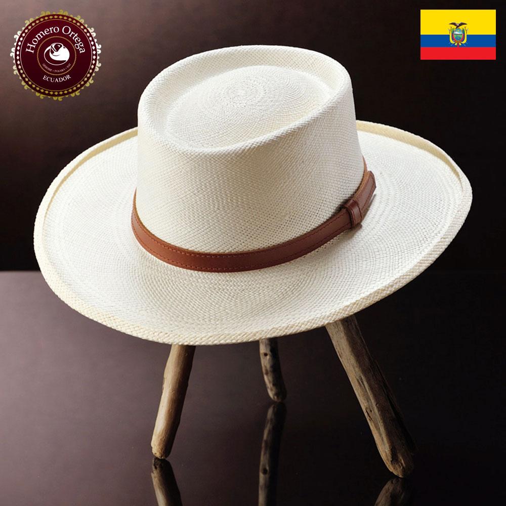 ポークパイ パナマ帽子 メンズ レディース 帽子 ハット 春夏 パナマハット 紳士帽 メンズハット S M L XL ナチュラル エクアドル 大きいサイズ あす楽 プレゼント HomeroOrtega オメロオルテガ フェドラ2V 送料無料