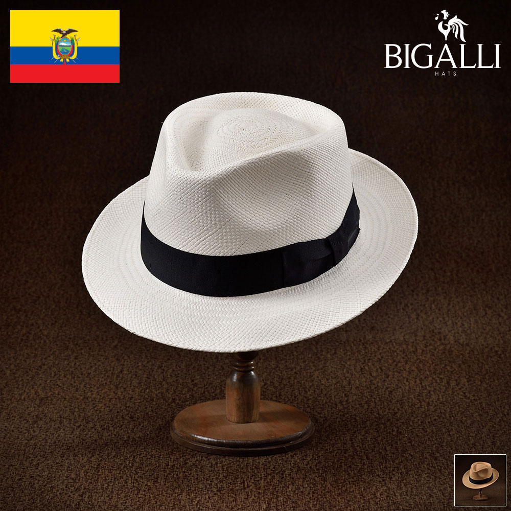 メンズ パナマハット パナマ帽 中折れ帽子 フェドラハット 帽子 レディース 紳士 春夏 大きいサイズ 紳士帽 メンズ帽子 ギフト プレゼント 送料無料 あす楽 S M L XL エクアドル製 BIGALLI [クイックステップパナマ]