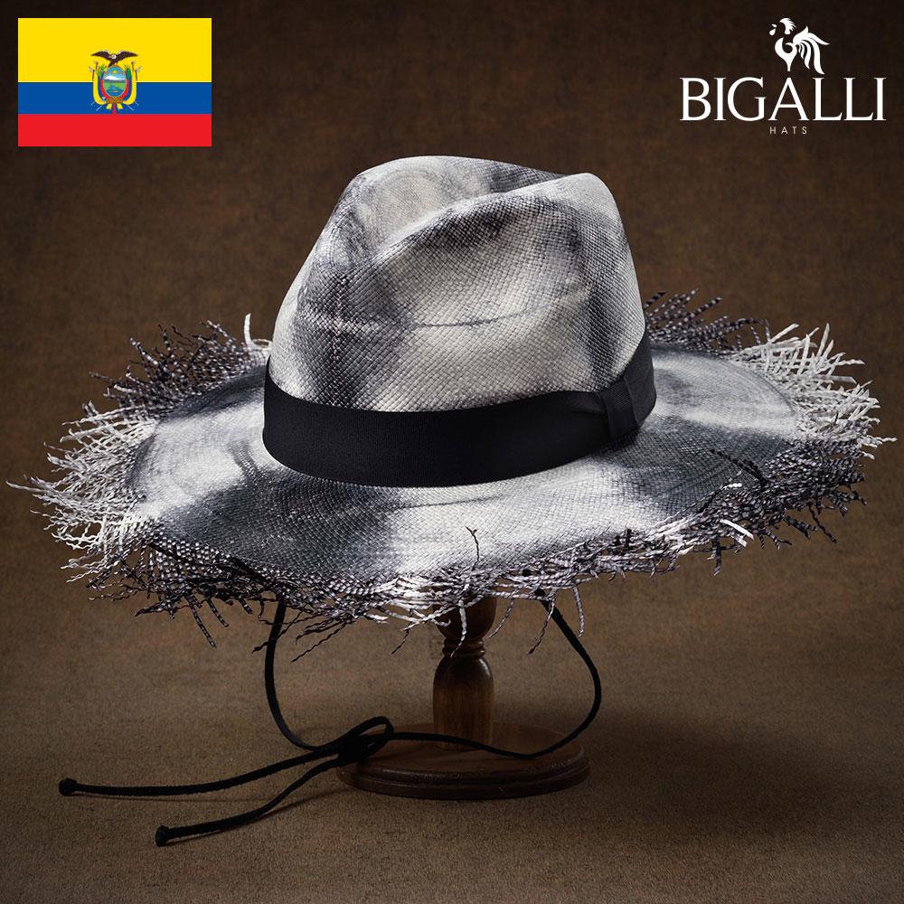 つば広 ストローハット メンズ レディース 春夏 帽子 ブレード ペーパー 麦わら 大きいサイズ 日除け 南国 リゾート ブラック S(54) M(56) L(58) XL(60) BIGALLI(ビガリ) エートス あす楽 送料無料