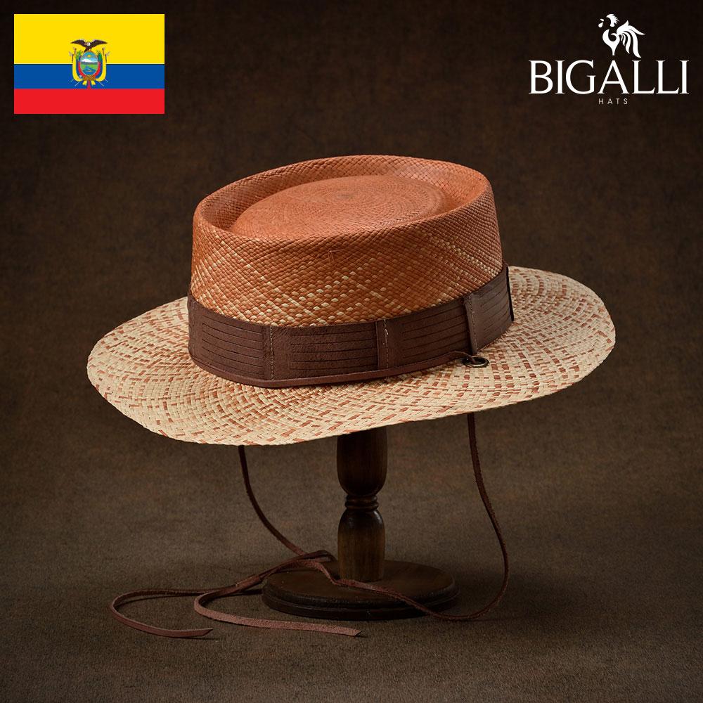 ポークパイハット パナマ帽 メンズ レディース 春夏 帽子 ハット パナマハット アウトドア リゾート ブラウン S(54) M(56) L(58) XL(60) BIGALLI(ビガリ) エスタブロ あす楽 送料無料