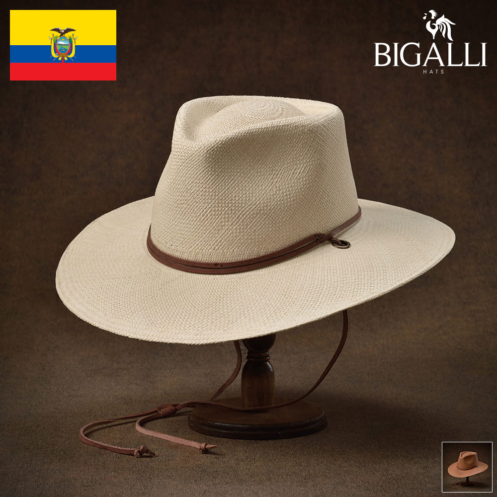 パナマハット メンズ レディース つば広 パナマ帽子 中折れハット 春夏 リゾート アウトドア ユニセックス プレゼント ギフト 送料無料 あす楽 S(54) M(56) L(58) XL(60) ナチュラル ブラウン BIGALLI(ビガリ) カラハリ