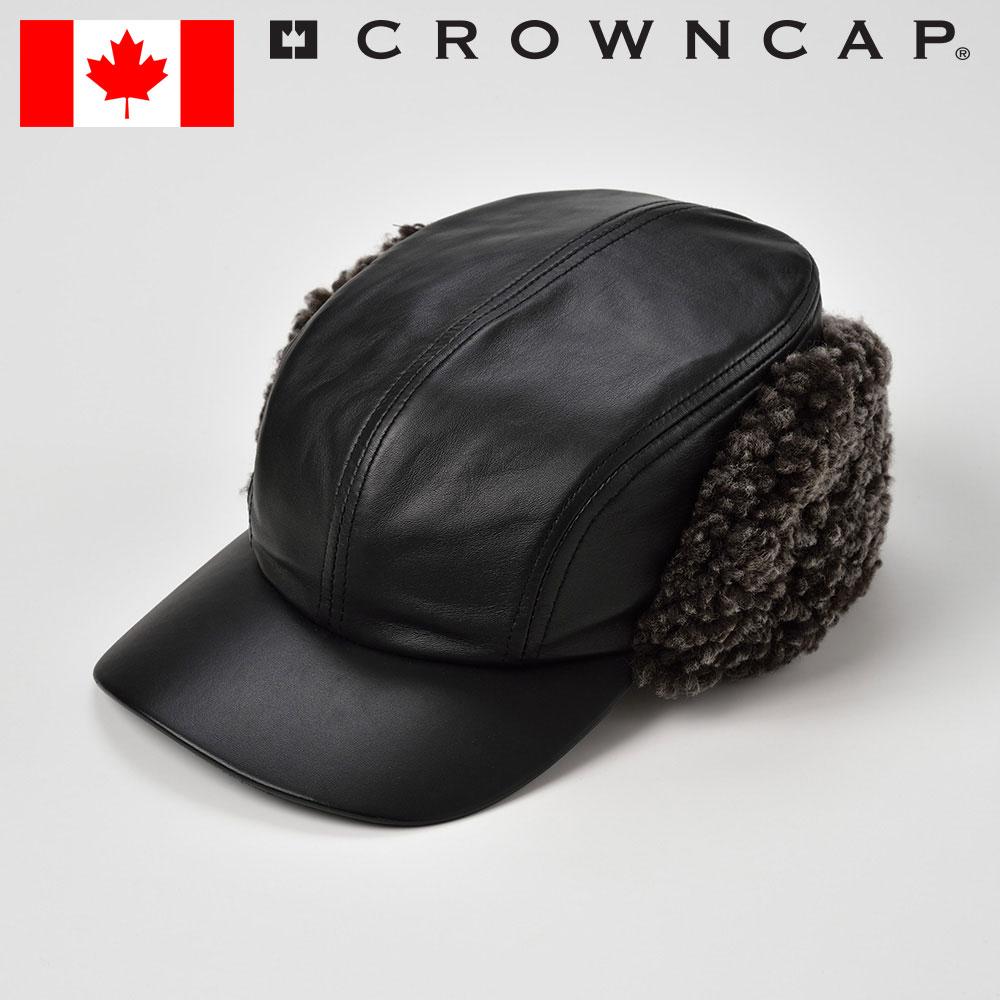 帽子 レザーキャップ ボアキャップ メンズ レディース 紳士 秋 冬 耳当て付き 本革 毛皮 防寒 おしゃれ S M L XL ブラック CROWNCAP [ナビゲーター] メンズ帽子 紳士帽 プレゼント あす楽 送料無料