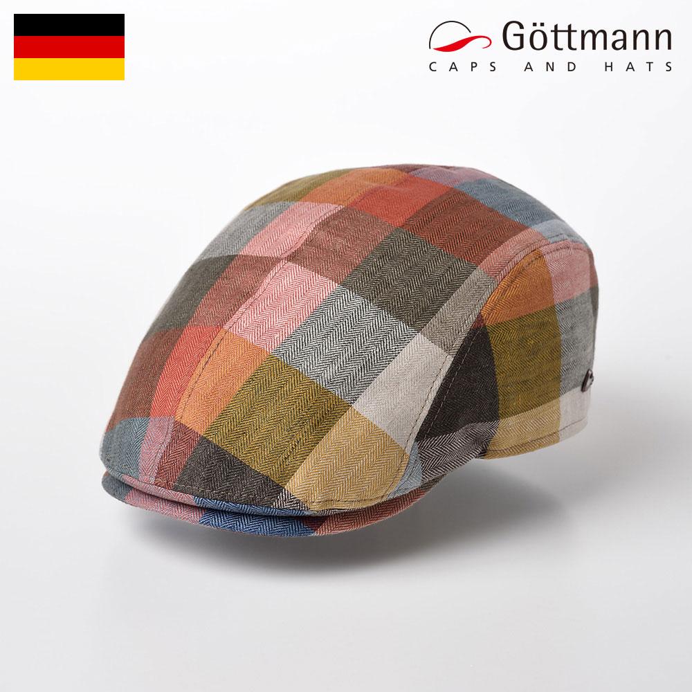 華やかなオレンジ基調のブロックチェック柄。サラッとリネンと裏地メッシュが涼しい、UVカット仕様ハンチング。 Gottmann ハンチング 帽子 メンズ 春 夏 キャップ CAP 鳥打帽 UV 紫外線対策 カジュアル おしゃれ レディース 送料無料 ギフト プレゼント 父の日 あす楽 ドイツブランド ゴットマン Jackson Linen(ジャクソン リネン) G2638407 オレンジイエロー