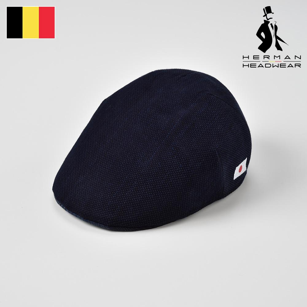 藍染ハンチング メンズ 春夏 限定コラボ商品 コットン100% ハンチング帽子 キャップ 大きいサイズ ネイビー 紺色 M L XL ベルギーブランド 紳士帽 送料無料 HERMAN(ヘルマン) 藍染コットン004 あす楽