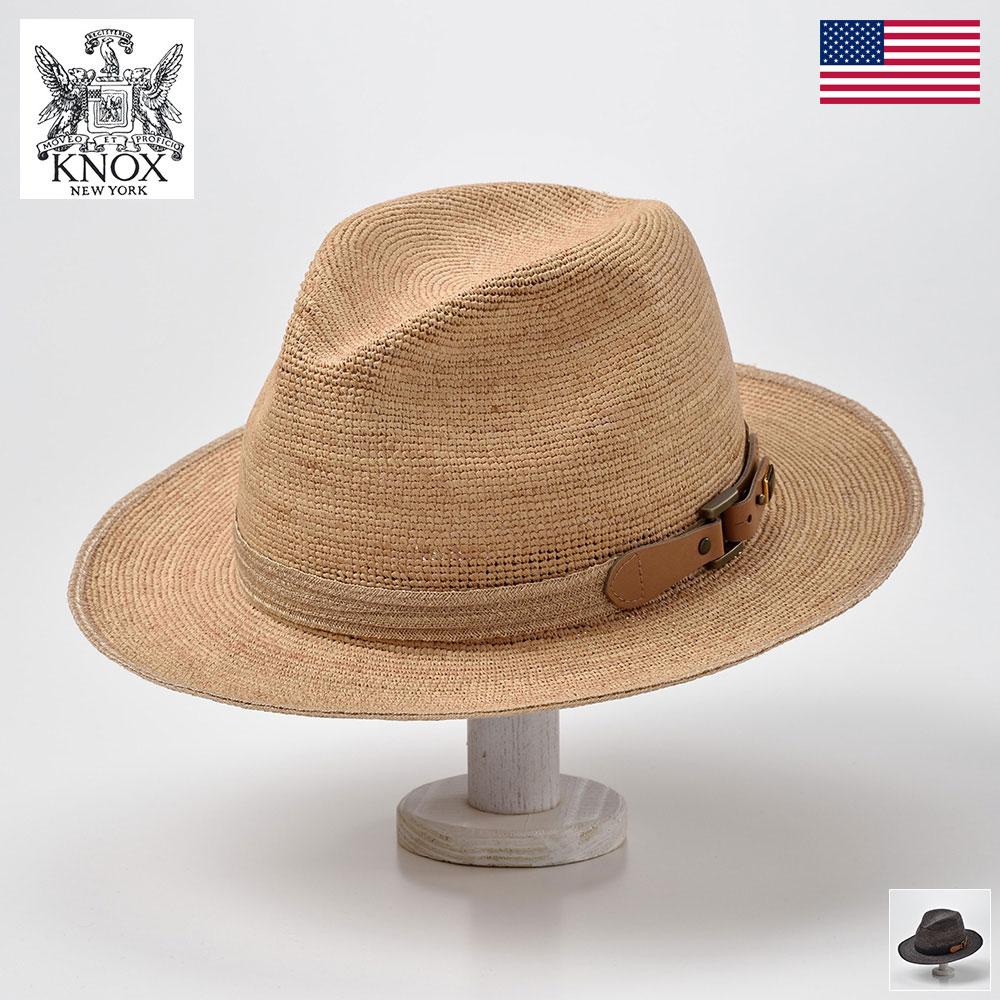 麦わら帽子 ラフィアハット メンズ レディース 春夏 大きいサイズ 涼しい 折りたたみ サイズ調整 クラッシャブル ナチュラル グレー 56 58 60cm KNOX(ノックス) ポケッタブルラフィア PKRBF 父の日 送料無料 あす楽