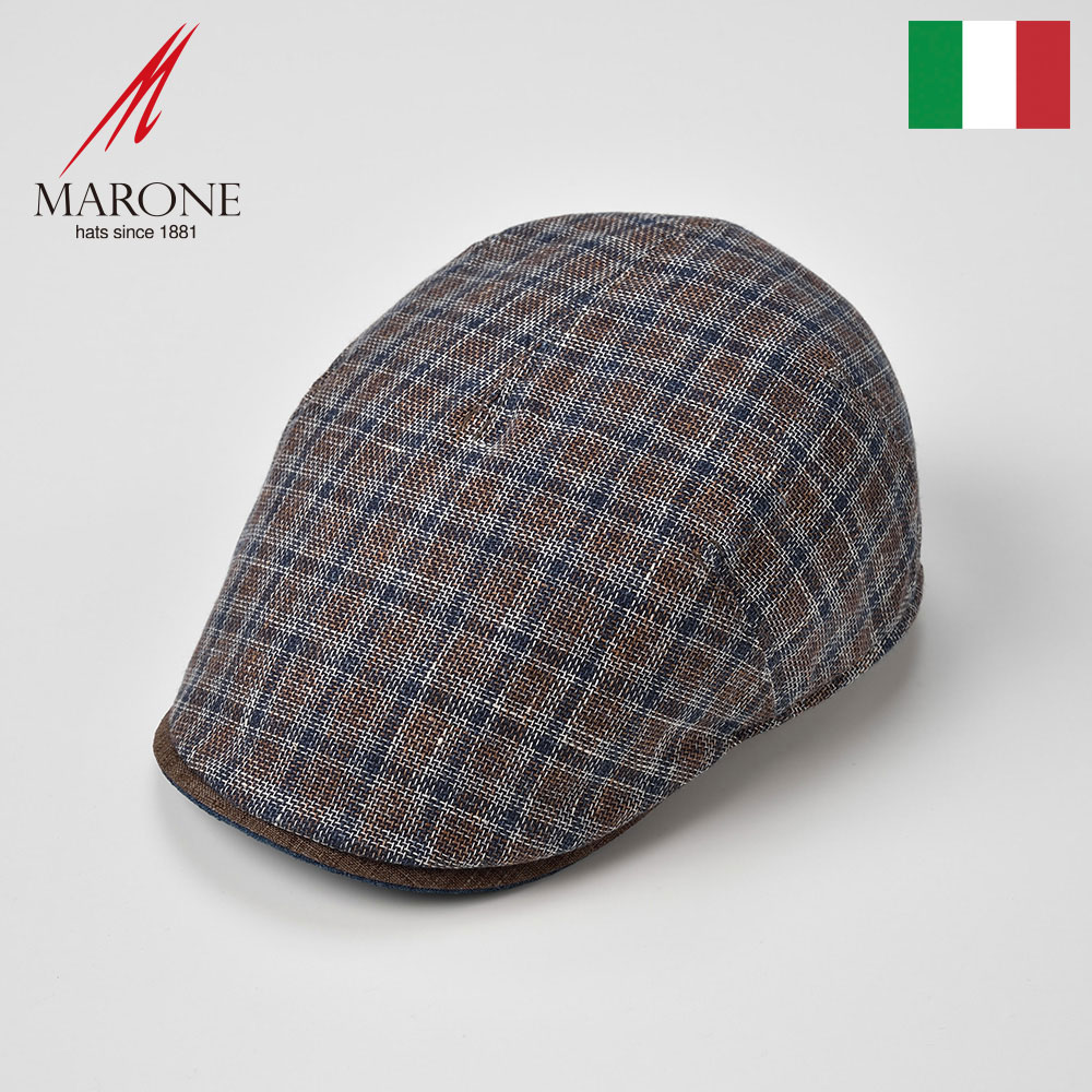 ハンチング メンズ 春夏 ハンチング帽子 キャップ 大きいサイズ 格子柄 レディース ブラウン S(55) M(57) L(59) XL(61) XXL(62) イタリアブランド MARONE(マローネ) プレイドマローネ 送料無料 あす楽