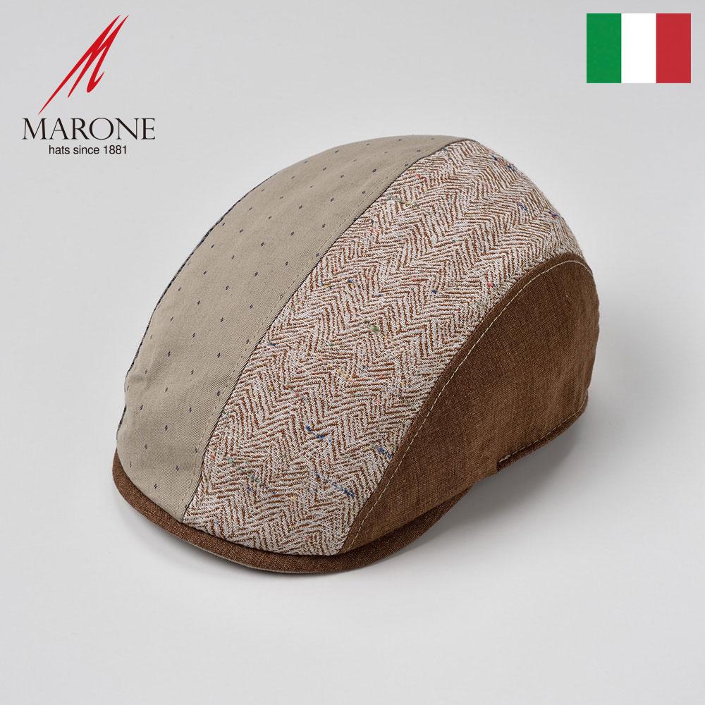 ハンチング メンズ 帽子 春夏 ハンチング帽 キャップ 大きいサイズ おしゃれ レディース マルチカラー ブラウン系 S(55) M(57) L(59) XL(61) XXL(62) イタリア MARONE(マローネ) テラ 送料無料 あす楽