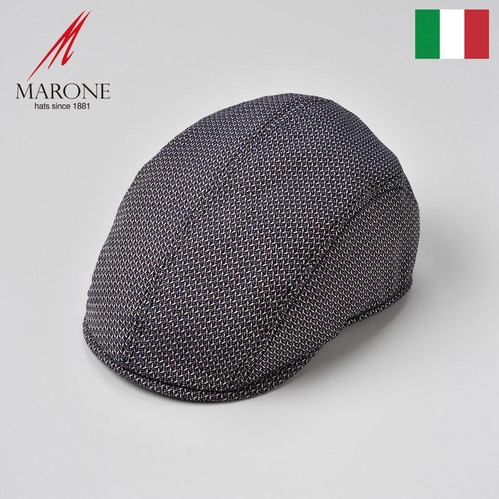 ハンチング メンズ 帽子 春夏 コットン ハンチング帽 キャップ 大きいサイズ お洒落 涼しい レディース ブラウンネイビー S(55) M(57) L(59) XL(61) XXL(62) イタリア MARONE(マローネ) ぺーシェ 送料無料 あす楽