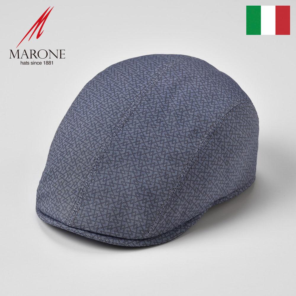 ハンチング 春夏 メンズ レディース 大きいサイズ ハンチング帽 キャスケット 帽子 キャップ ブルー S(55) M(57) L(59) XL(61) XXL(62) イタリア製 MARONE マローネ [モンド] 紳士帽 メンズ帽子 あす楽 送料無料