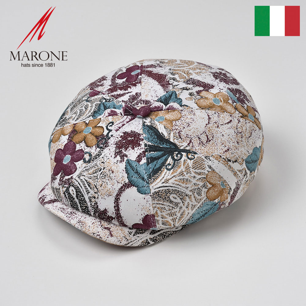 キャスケット メンズ 帽子 春夏 花柄 コットン100% キャスケット帽 キャップ 大きいサイズ おしゃれ ボタニカル レディース M(57) L(59) XL(61) XXL(62) イタリア MARONE(マローネ) フィオーレ 送料無料 あす楽