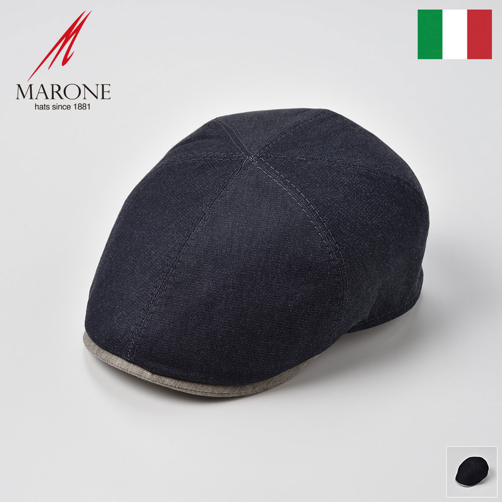 帽子 メンズ 春夏 ハンチング リネン コットン 大きいサイズ ネイビー ブラック ハンチング帽 キャップ レディース S(55) M(57) L(59) XL(61) XXL(62) イタリアブランド MARONE(マローネ) カーロ あす楽 送料無料