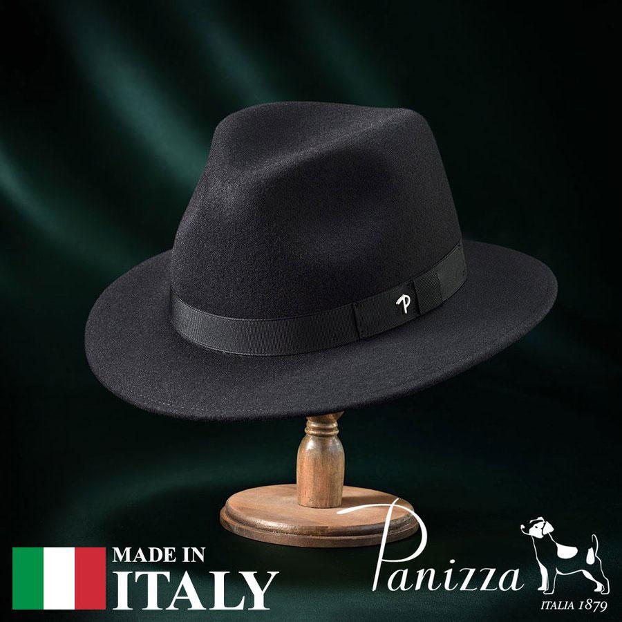 フェルトハット メンズ レディース 中折れハット フェドラハット 帽子 フェルト帽 紳士 秋 冬 大きいサイズ フォーマル 黒 ブラック S M L XL Panizza パニッツァ [ポテンザセンプリチェ] メンズ帽子 紳士ハット あす楽 送料無料