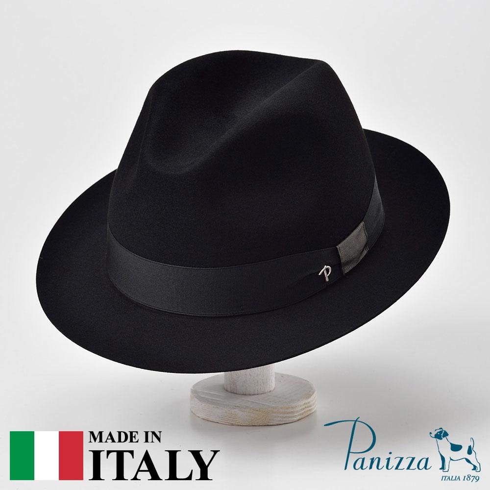 ビーバーフェルトハット メンズ レディース 中折れハット フェドラ 帽子 フェルト帽 紳士 秋冬 大きいサイズ フォーマル 黒 ブラック S M L XL Panizza パニッツァ [ローマパヴォーネ] メンズ帽子 紳士ハット 送料無料 あす楽