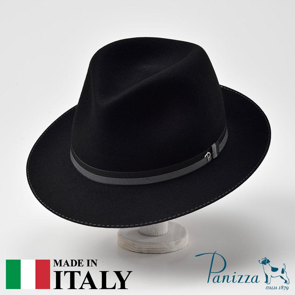 メンズ フェルトハット 中折れハット フェドラハット 帽子 フェルト帽 レディース 紳士 秋冬 大きいサイズ フォーマル 黒 ブラック S M L XL Panizza パニッツァ [ピサミーテ] 紳士帽 メンズ帽子 紳士ハット 送料無料 あす楽
