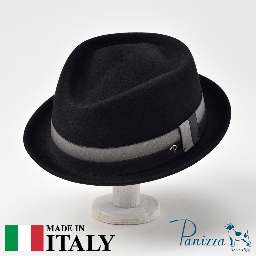 この存在感は、オンリーワン。パニッツァで初めてのダイヤモンド型トップをもつ、創業140周年記念モデル。 ハット メンズ レディース フェルトハット 中折れハット フェドラ 帽子 フェルト帽 紳士 秋 冬 秋冬 大きいサイズ フォーマル 黒 ブラック S M L XL Panizza パニッツァ [ポッピテンダ] 紳士帽 メンズ帽子 紳士ハット あす楽