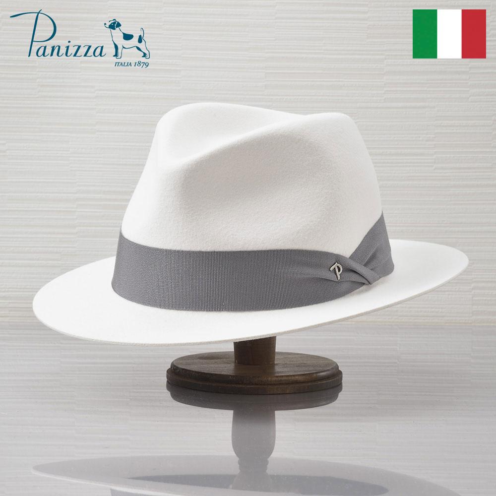 まぶしいほど美しい 白のフェルトハットが登場 なめらかなラビットファー 動的なグレーリボン 鋭角なフロントピンチが イタリアらしいオシャレ感を演出 フェルトハット メンズ 帽子 中折れハット シンプル エレガント 秋 冬 大きいサイズ ソフトハット レディース あす楽 L イタリア製 Panizza ピサ White ラビットフェルト100% 白 安全 格安激安 PISA ホワイト VALDARNO ヴァルダルノ 紳士帽 送料無料 ブランド XL M