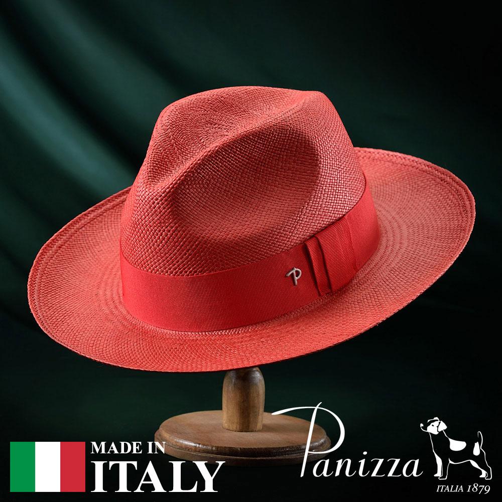 パナマハット メンズ レディース パナマ帽 中折れ帽子 フェドラハット 帽子 紳士 春 夏 春夏 大きいサイズ S M L XL 赤 レッド Panizza パニッツァ [プジョロッソ] 紳士帽 メンズ帽子 紳士ハット プレゼント あす楽 送料無料