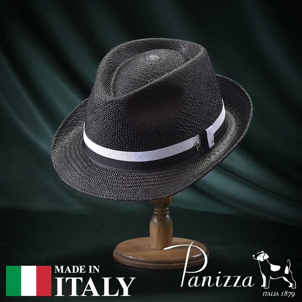 メンズ パナマハット パナマ帽 中折れ帽子 フェドラハット 帽子 レディース 紳士 春夏 大きいサイズ S M L XL 黒 ブラック Panizza パニッツァ [テナネーロ] 紳士帽 メンズ帽子 紳士ハット プレゼント 送料無料 あす楽