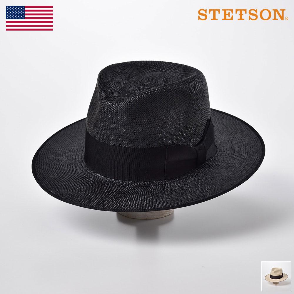 【10%OFFクーポン配布中】STETSON(ステットソン) パナマハット メンズ 中折れハット 帽子 パナマ帽 本パナマ 春夏 ハイクラウン 黒 ブラック ナチュラル スベリアジャスター付 [フラットウィペットパナマ SE456] 送料無料 あす楽