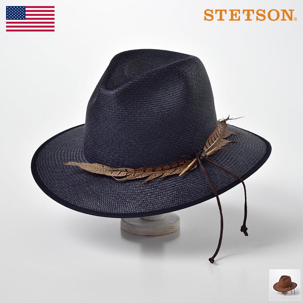 【10%OFFクーポン配布中】STETSON(ステットソン) パナマ帽子 メンズハット 春夏 中折れ フェドラ 紳士帽 本パナマ エクアドル製 アメリカブランド ネイビー ブラウン アジャスター付 [パナマビッグフェザー SE520] 送料無料 あす楽