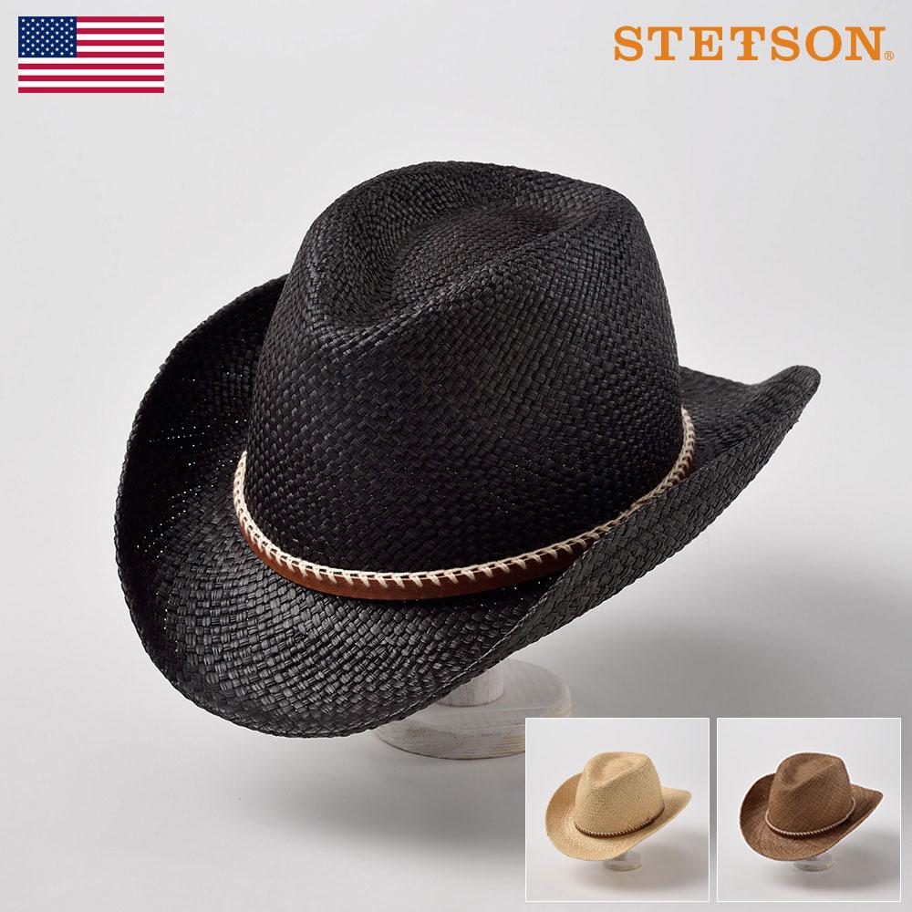 ステットソン STETSON パナマハット メンズ レディース パナマ帽 中折れハット ウエスタン カウボーイ ハット 帽子 紳士 大きいサイズ 春夏 ブラック シナモン ナチュラル 58cm [ウエスタン SH335] メンズ帽子 あす楽 送料無料