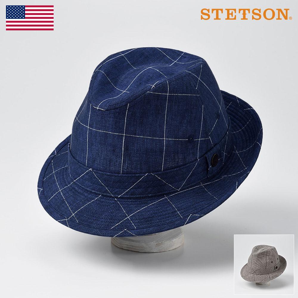 STETSON ステットソン メンズ レディース サファリハット ソフトハット ハット 帽子 アルペン リネン 紳士 大きいサイズ 春 夏 春夏 ネイビー ブラウン 56cm 58cm 60cm [リネンハットSE448] メンズ帽子 あす楽 送料無料