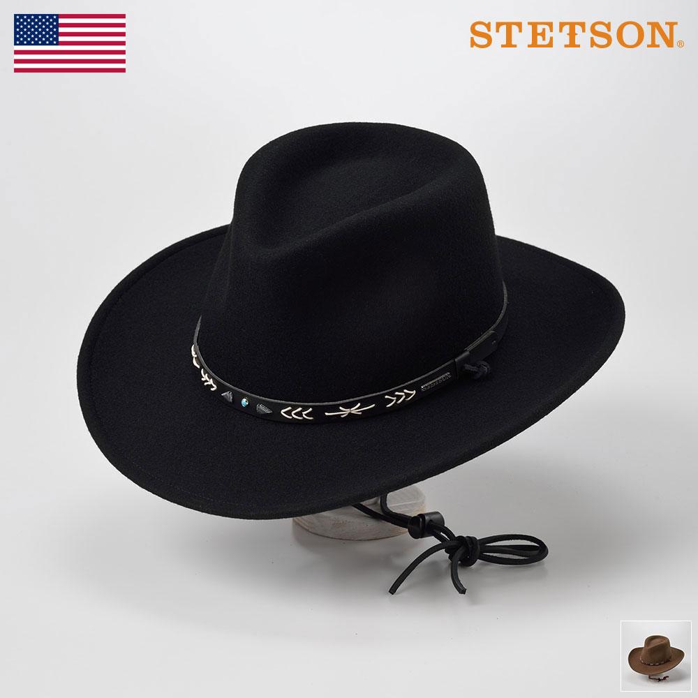 STETSON ステットソン ウールフェルトハット メンズ レディース ウエスタンハット カウボーイハット 中折れハット ソフトハット 帽子 紳士 秋 冬 秋冬 ブラック ブラウン L XL (サンタ フェ ST947) メンズ帽子 あす楽 送料無料