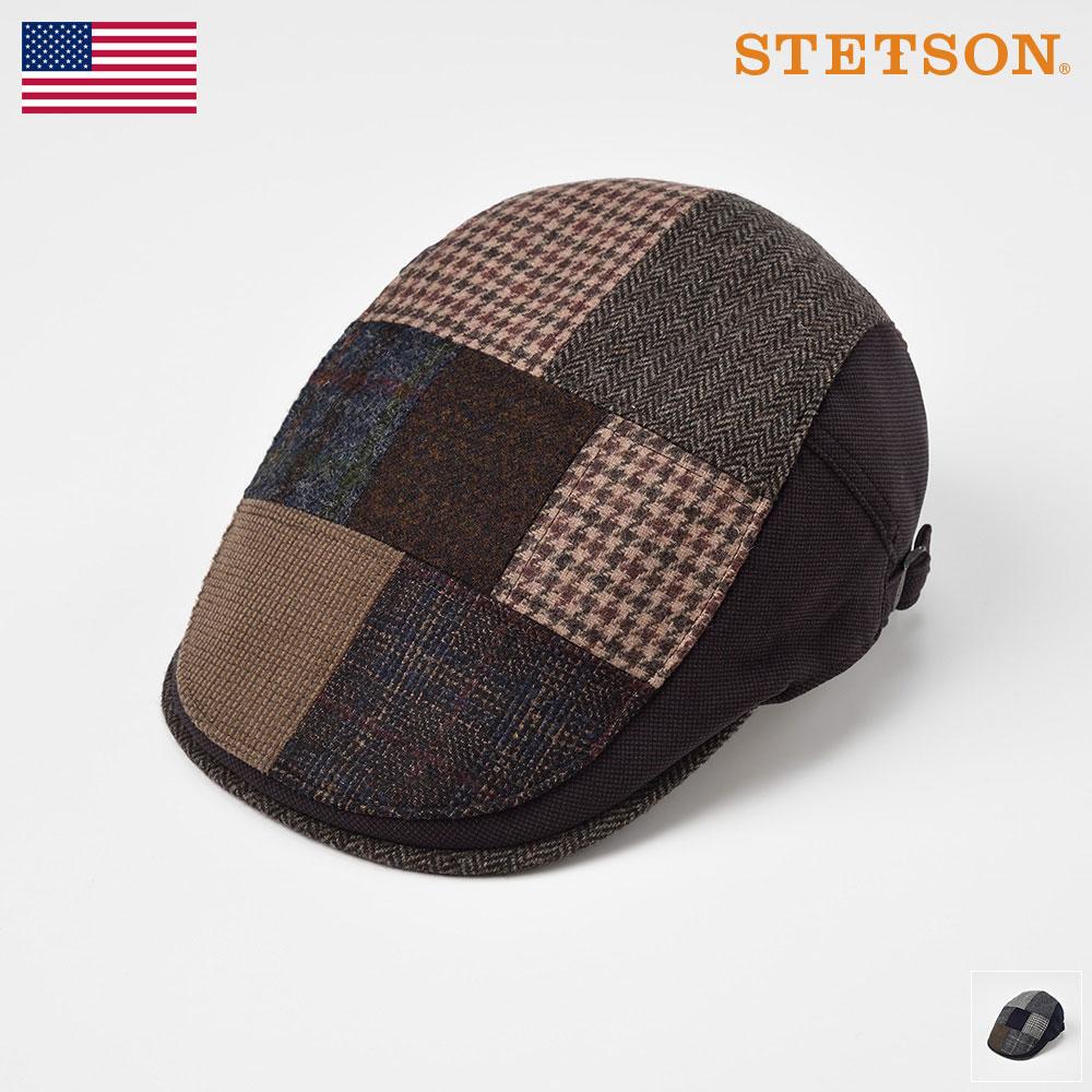 STETSON ステットソン ハンチング メンズ レディース ハンチング帽 キャップ 帽子 紳士 秋 冬 秋冬 ブラウン ネイビー S M L LL [パッチワークハンチング SE481] 紳士帽 メンズ帽子 あす楽
