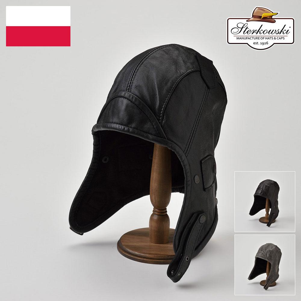 ボンバーキャップ メンズ レディース 飛行帽 フライトキャップ パイロットキャップ 耳あて レザー 本革 S M L XL XXL ミリタリー 帽子 ハット 紳士帽 メンズハット レディース 大きいサイズ あす楽 Sterkowski ナルヴィ 送料無料