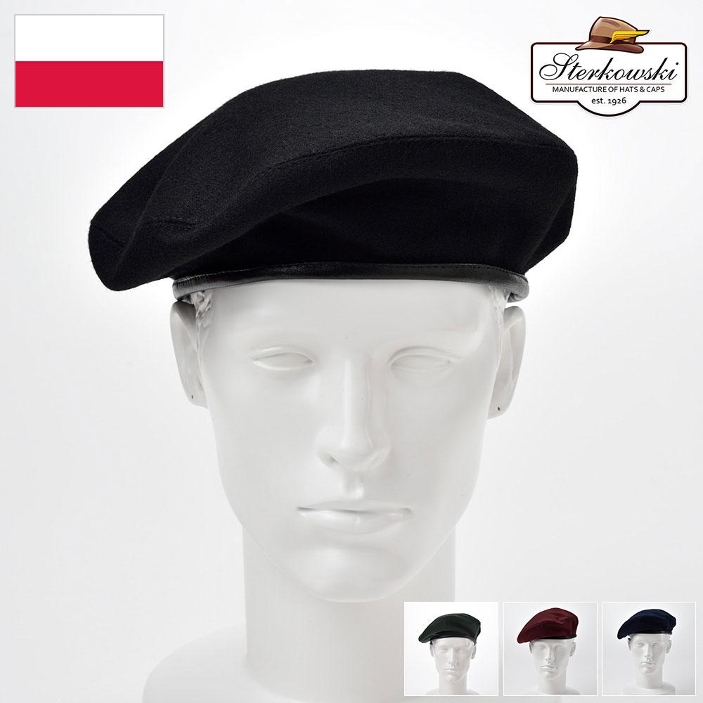 ベレー帽 メンズ レディース アーミーベレー ミリタリーベレー 帽子 紳士 秋 冬 大きいサイズ ブラック ブルー バーガンディー M L XL XXL Sterkowski ステルコフスキー [ソサボフスキー] 紳士帽 メンズ帽子 あす楽 送料無料