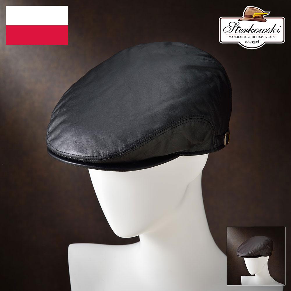 メンズ ハンチング帽 鳥打帽 ハンチング 本革 レザー ブラック ブラウン S M L XL XXL イヤーフラップ メンズハット 帽子 ハット メンズハンチング レディース 大きいサイズ あす楽 プレゼント Sterkowski オリエンス 送料無料